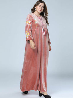 Pink Embroidered Velvet Maxi Dress