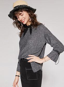 Chic Bowknot Pullover Irregular Sweater