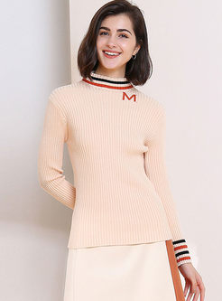 Standing Collar Slim Striped Sweater