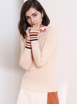 Standing Collar Slim Striped Sweater
