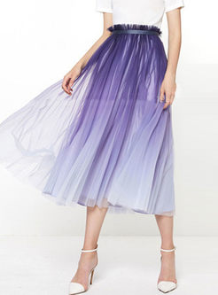 Sweet High Waisted Mesh Pleated Skirt