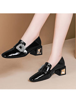 Fashion Square Neck Chunky Heel Shoes