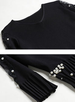 V-neck 3/4 Sleeve Beading Sweater Dress