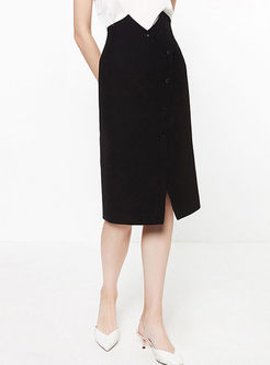 Irregular High Waisted Slit Skirt