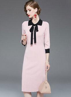 Sweet Pink Bowknot Slim Sweater Dress