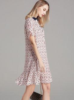 Turn Down Collar Silk Print Dress