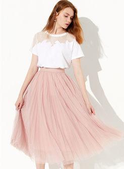 Sweet Elastic Waist Mesh Pleated Dress