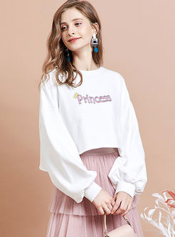 Brief O-neck Long Sleeve Short Sweatshirt