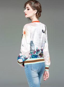 Fashion Print Pullover Velvet Sweatshirt