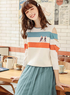 Sweet Striped Off The Shoulder Sweater