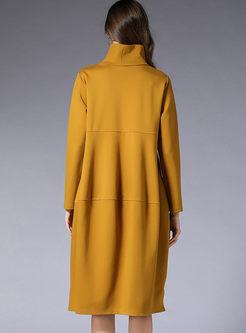 Plus Size Turtleneck Slit Loose Dress