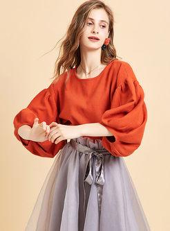 Lantern Sleeve Pullover Loose Sweater