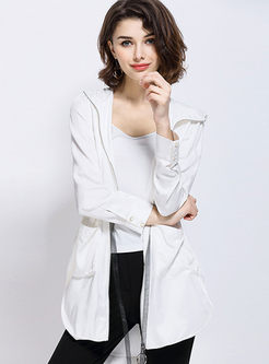 Hooded Print Long Sleeve Irregular Coat