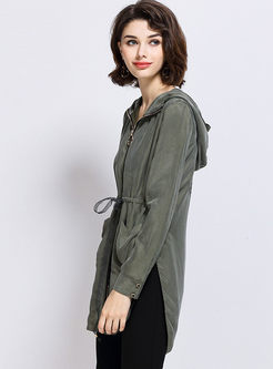 Solid Color Drawcord Hooded Coat