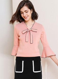 Sweet Bowknot Flare Sleeve Sweater