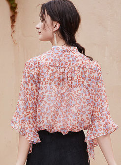 Flare Sleeve Floral Chiffon Blouse