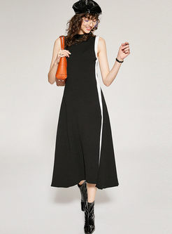 Standing Collar Sleeveless Big Hem Dress
