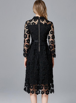 Black Turn-down Collar Openwork Midi Dresses