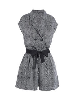 Casual Notched Plaid Wide Leg Rompers