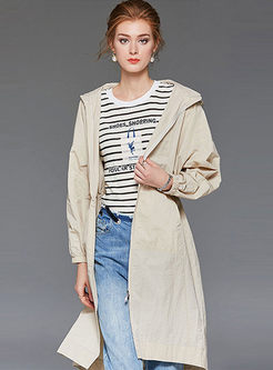 Fashion Hooded Letter Print Coat