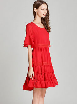 Brief O-neck Lace Patchwork Chiffon Dress