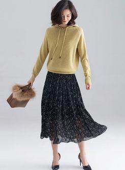 Elastic Waist Pleated Chiffon Skirt