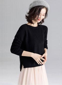 Black O-neck Long Sleeve Sweater