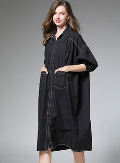 Casual Plus Size Loose Shirt Dress