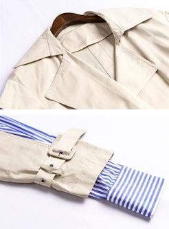 Notched Striped Patchwork Trench Coat