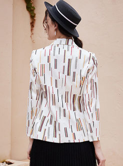 Work Notched Geometric Print Blazer