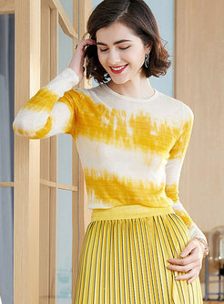 Stylish O-neck Knitted Pullover T-shirt