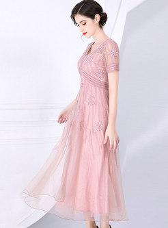 Mesh Embroidered Splicing High Waist Maxi Dress