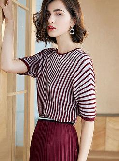 Brief O-neck Striped Slim Sweater