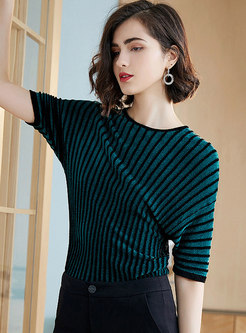 Casual All-matched Striped Color-blocked Sweater