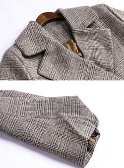 Notched Lantern Sleeve Waist Trench Coat