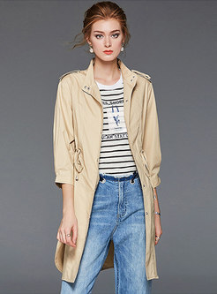 Solid Color Tied Half Sleeve Trench Coats