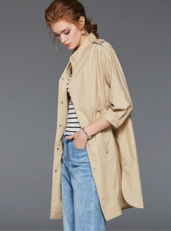 Solid Color Tied Half Sleeve Trench Coat