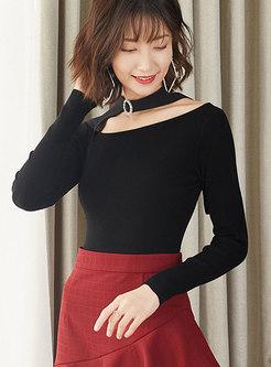 Black Diamond Tied Slim Pullover Sweater