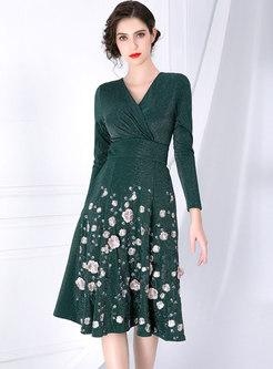 High Waist Embroidered Long Sleeve Skater Dress