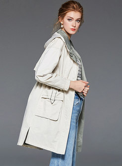 Casual Hooded Long Sleeve Trench Coat