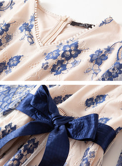 Print Lace Bowknot Half Sleeve Skater Dress
