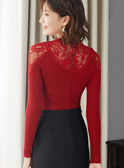 Solid Color Hollow Out Lace Splicing Sweater