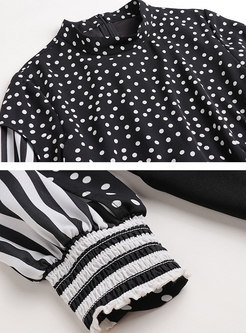 Casual Polka Dot Lantern Sleeve Jumpsuits