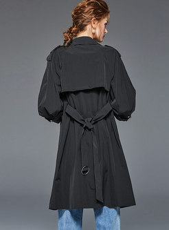 Casual Notched Double-breasted Loose Trench Coat
