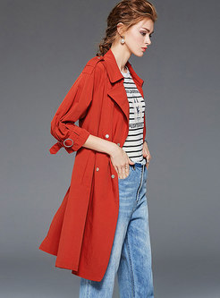 Stylish All-matched Pure Color Trench Coats