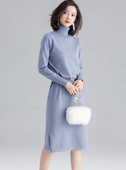 Turtleneck Long Sleeve Slit Knit Dress