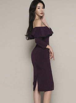 Sexy Slash Neck 3/4 Sleeve Bodycon Dress