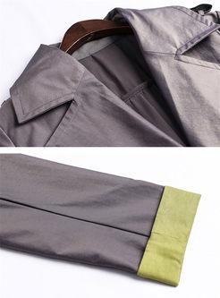 Fashion Notched Waist Trench Coat