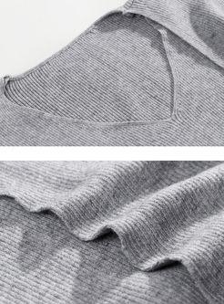 Brief Solid Color V-neck Bodycon Knit Dress