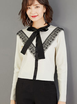 Bowknot Lace Patchwork Slim Cardigan